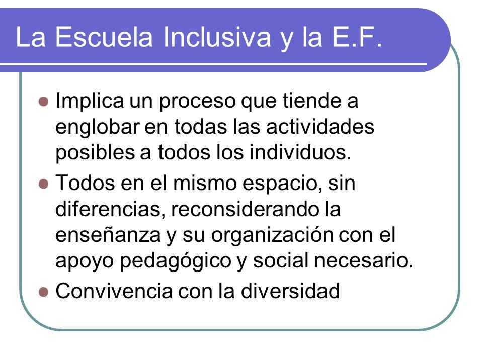 La Escuela Inclusiva y la E.F. Implica un proceso que tiende a englobar en todas las actividades posibles a todos los individuos. Todos en el mismo es