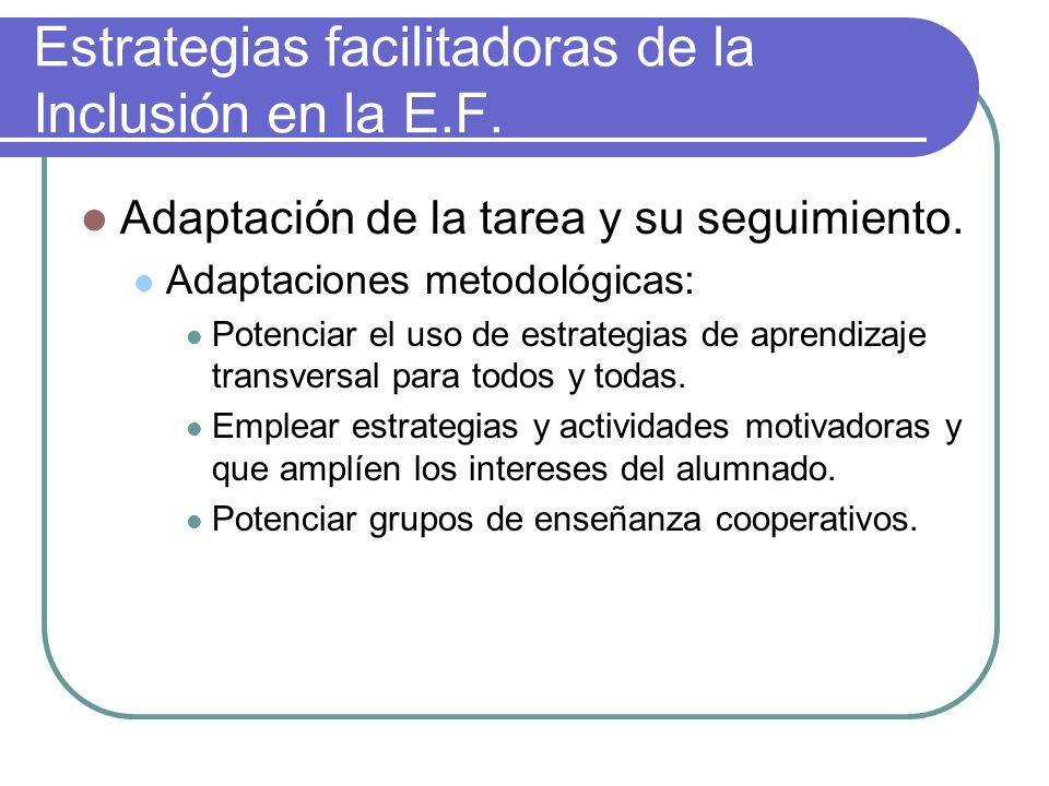 Estrategias facilitadoras de la Inclusión en la E.F. Adaptación de la tarea y su seguimiento. Adaptaciones metodológicas: Potenciar el uso de estrateg