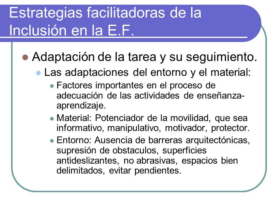 Estrategias facilitadoras de la Inclusión en la E.F. Adaptación de la tarea y su seguimiento. Las adaptaciones del entorno y el material: Factores imp
