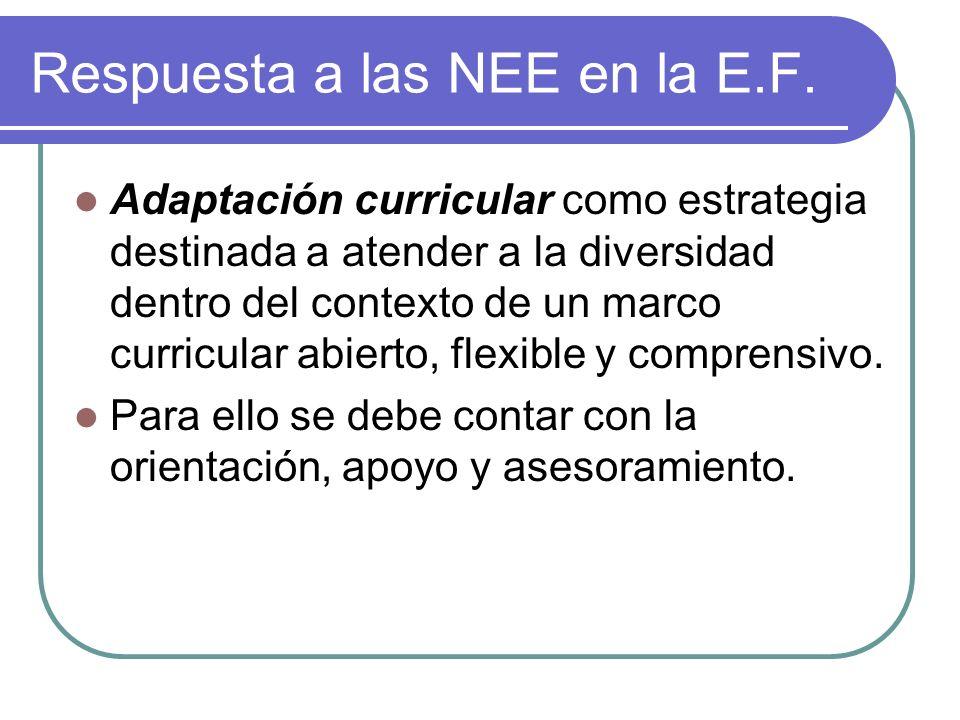 Respuesta a las NEE en la E.F. Adaptación curricular como estrategia destinada a atender a la diversidad dentro del contexto de un marco curricular ab