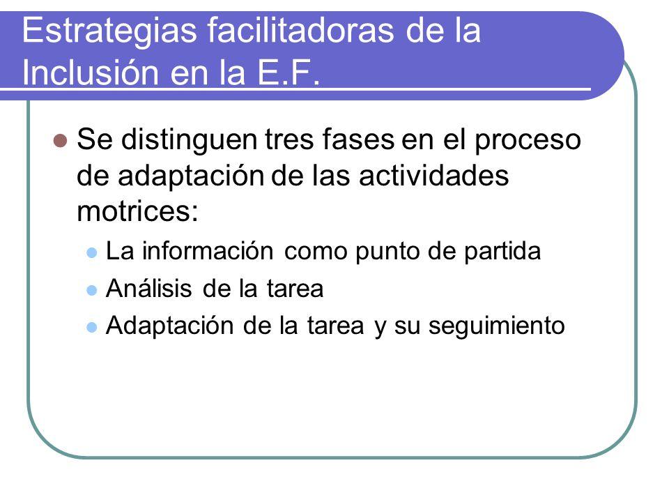 Estrategias facilitadoras de la Inclusión en la E.F. Se distinguen tres fases en el proceso de adaptación de las actividades motrices: La información