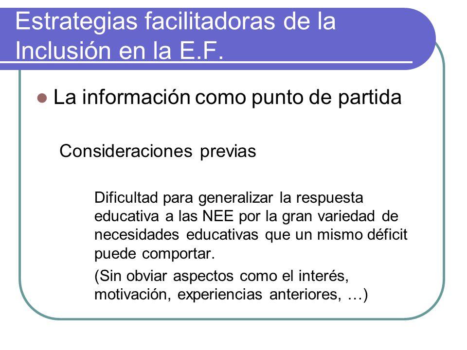 Estrategias facilitadoras de la Inclusión en la E.F. La información como punto de partida Consideraciones previas Dificultad para generalizar la respu
