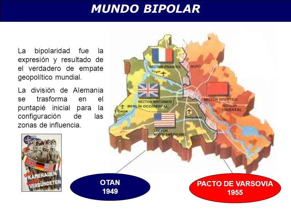 MUNDO BIPOLAR La bipolaridad fue la expresión y resultado de el verdadero de empate geopolítico mundial. La división de Alemania se trasforma en el pu