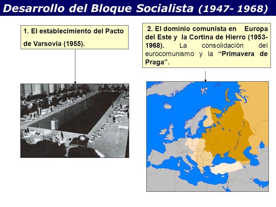 Desarrollo del Bloque Socialista (1947- 1968) 1. El establecimiento del Pacto de Varsovia (1955). 2. El dominio comunista en Europa del Este y la Cort
