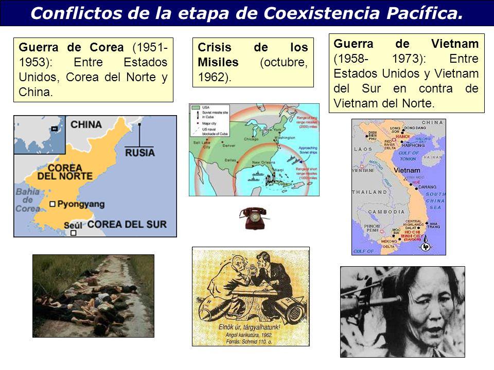 Conflictos de la etapa de Coexistencia Pacífica. Guerra de Corea (1951- 1953): Entre Estados Unidos, Corea del Norte y China. Crisis de los Misiles (o