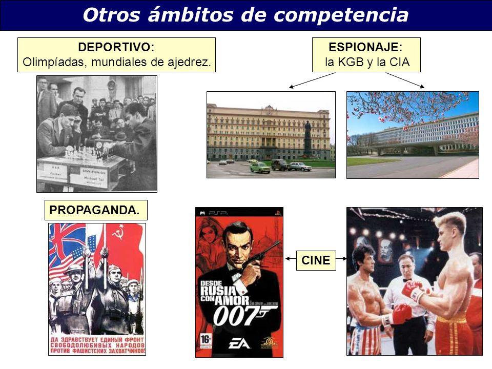 Otros ámbitos de competencia DEPORTIVO: Olimpíadas, mundiales de ajedrez. ESPIONAJE: la KGB y la CIA PROPAGANDA. CINE