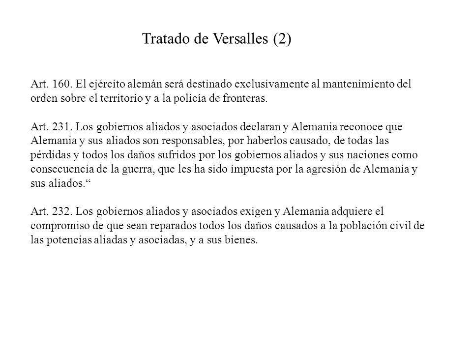 Tratado de Versalles (2) Art. 160. El ejército alemán será destinado exclusivamente al mantenimiento del orden sobre el territorio y a la policía de f