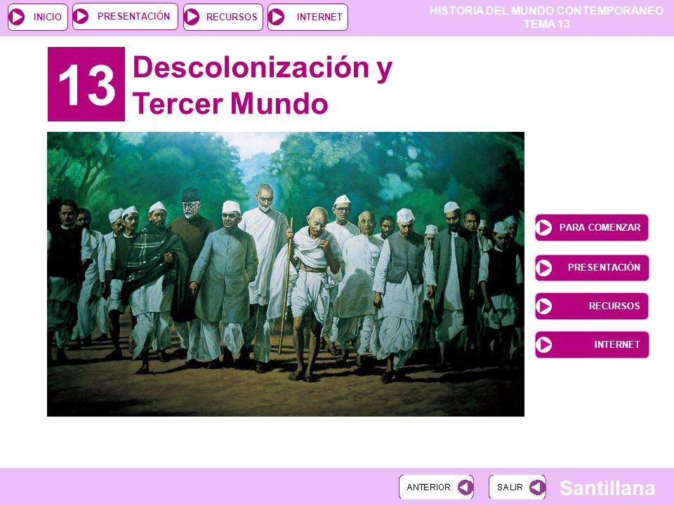 HISTORIA DEL MUNDO CONTEMPORÁNEO TEMA 13 RECURSOSINTERNETPRESENTACIÓN Santillana INICIO 13 Descolonización y Tercer Mundo PARA COMENZAR PRESENTACIÓN R