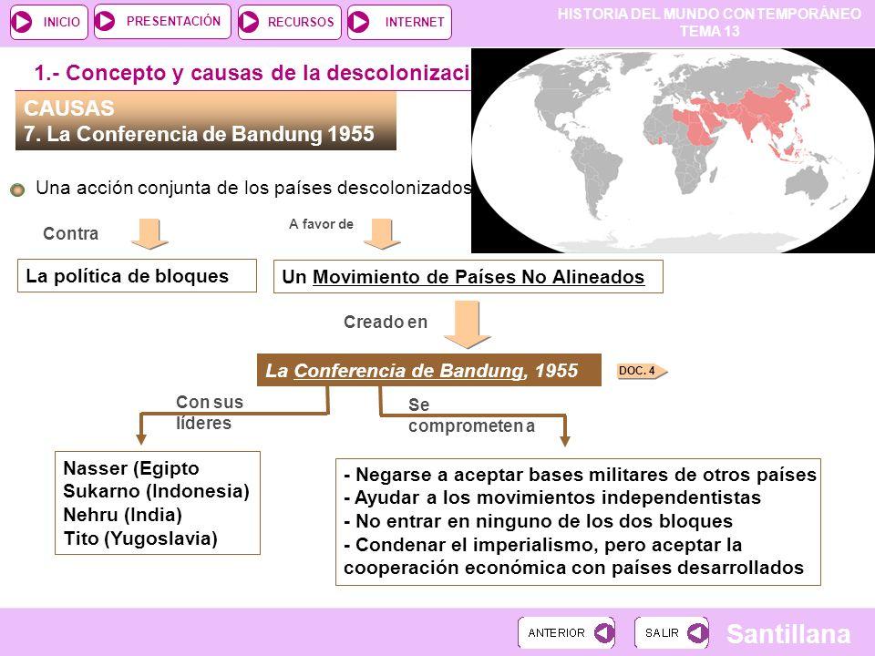 HISTORIA DEL MUNDO CONTEMPORÁNEO TEMA 13 RECURSOSINTERNETPRESENTACIÓN Santillana INICIO CAUSAS 7. La Conferencia de Bandung 1955 Una acción conjunta d