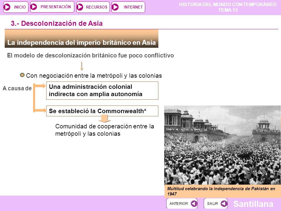 HISTORIA DEL MUNDO CONTEMPORÁNEO TEMA 13 RECURSOSINTERNETPRESENTACIÓN Santillana INICIO La independencia del imperio británico en Asia El modelo de de