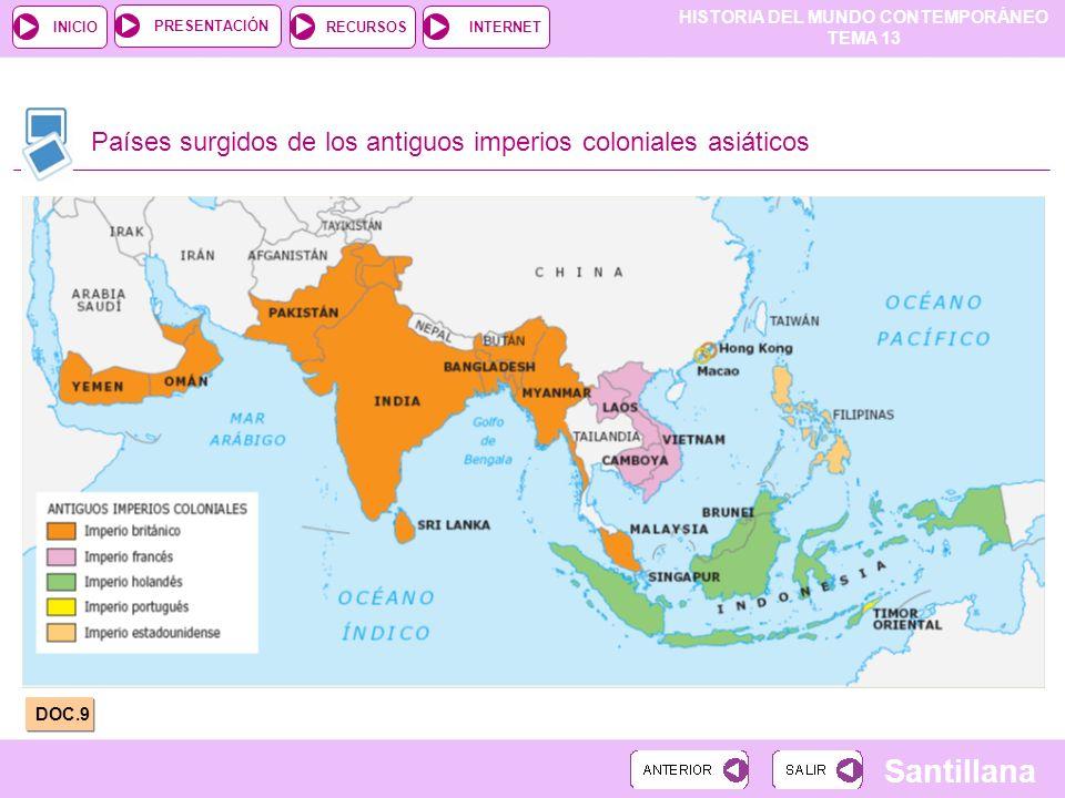 HISTORIA DEL MUNDO CONTEMPORÁNEO TEMA 13 RECURSOSINTERNETPRESENTACIÓN Santillana INICIO Países surgidos de los antiguos imperios coloniales asiáticos