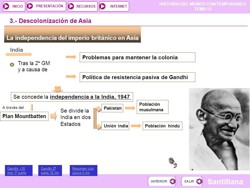 HISTORIA DEL MUNDO CONTEMPORÁNEO TEMA 13 RECURSOSINTERNETPRESENTACIÓN Santillana INICIO La independencia del imperio británico en Asia 3.- Descoloniza
