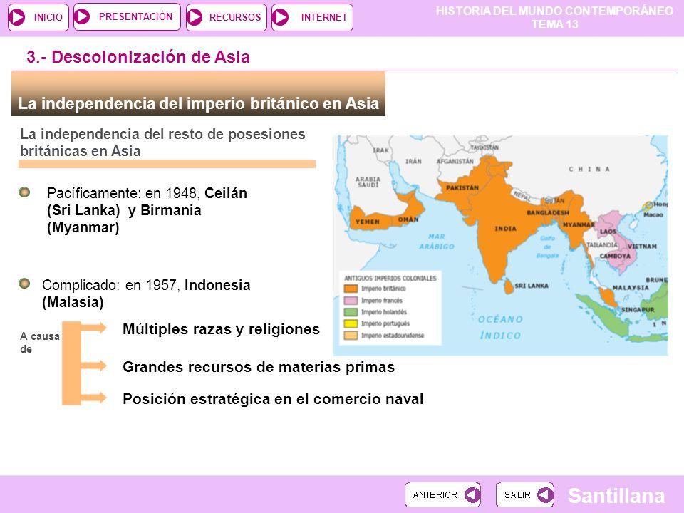 HISTORIA DEL MUNDO CONTEMPORÁNEO TEMA 13 RECURSOSINTERNETPRESENTACIÓN Santillana INICIO La independencia del imperio británico en Asia La independenci