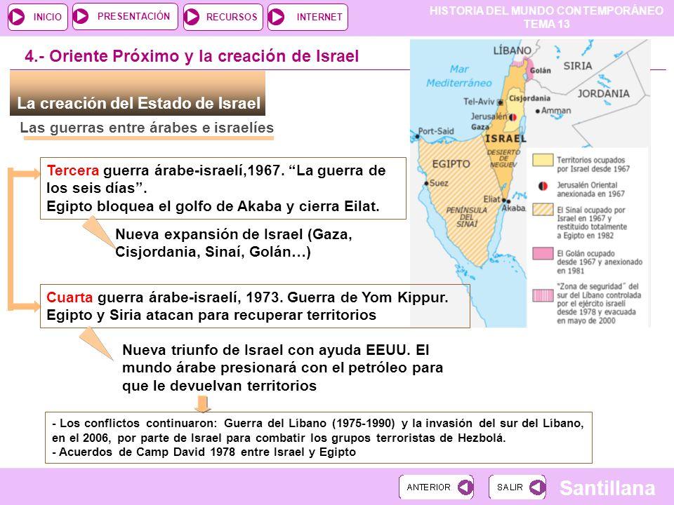 HISTORIA DEL MUNDO CONTEMPORÁNEO TEMA 13 RECURSOSINTERNETPRESENTACIÓN Santillana INICIO Las guerras entre árabes e israelíes La creación del Estado de