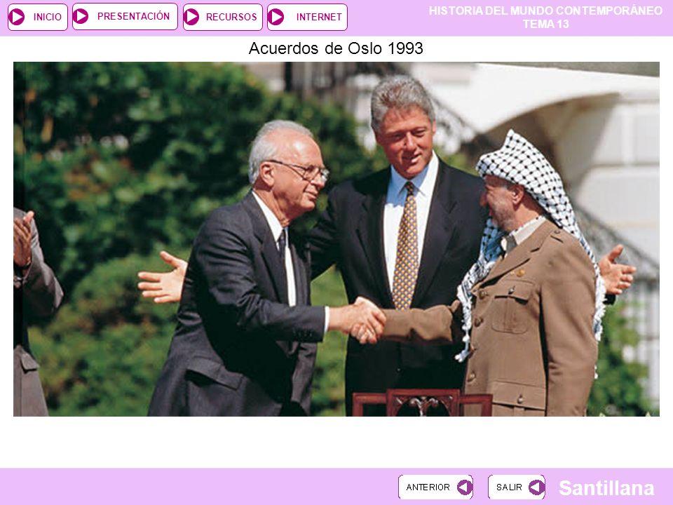 HISTORIA DEL MUNDO CONTEMPORÁNEO TEMA 13 RECURSOSINTERNETPRESENTACIÓN Santillana INICIO Acuerdos de Oslo 1993