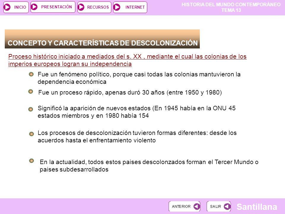 HISTORIA DEL MUNDO CONTEMPORÁNEO TEMA 13 RECURSOSINTERNETPRESENTACIÓN Santillana INICIO CONCEPTO Y CARACTERÍSTICAS DE DESCOLONIZACIÓN Proceso históric
