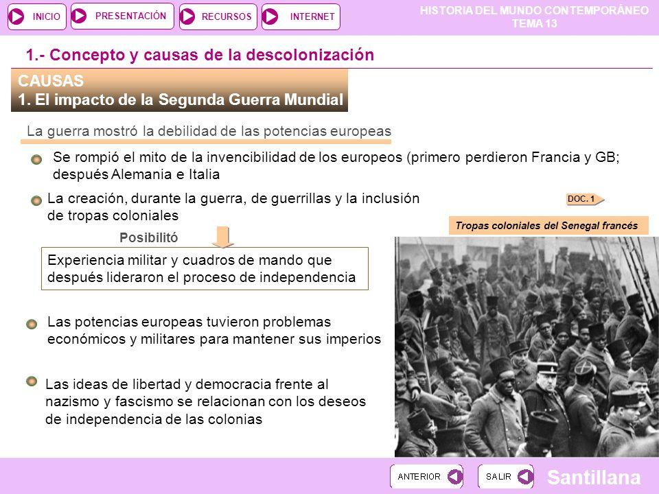 HISTORIA DEL MUNDO CONTEMPORÁNEO TEMA 13 RECURSOSINTERNETPRESENTACIÓN Santillana INICIO La creación, durante la guerra, de guerrillas y la inclusión d