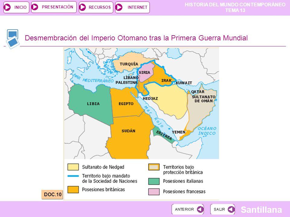 HISTORIA DEL MUNDO CONTEMPORÁNEO TEMA 13 RECURSOSINTERNETPRESENTACIÓN Santillana INICIO Desmembración del Imperio Otomano tras la Primera Guerra Mundi
