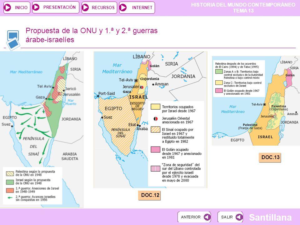 HISTORIA DEL MUNDO CONTEMPORÁNEO TEMA 13 RECURSOSINTERNETPRESENTACIÓN Santillana INICIO Propuesta de la ONU y 1.ª y 2.ª guerras árabe-israelíes DOC.11