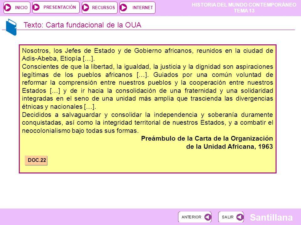 HISTORIA DEL MUNDO CONTEMPORÁNEO TEMA 13 RECURSOSINTERNETPRESENTACIÓN Santillana INICIO Texto: Carta fundacional de la OUA Nosotros, los Jefes de Esta