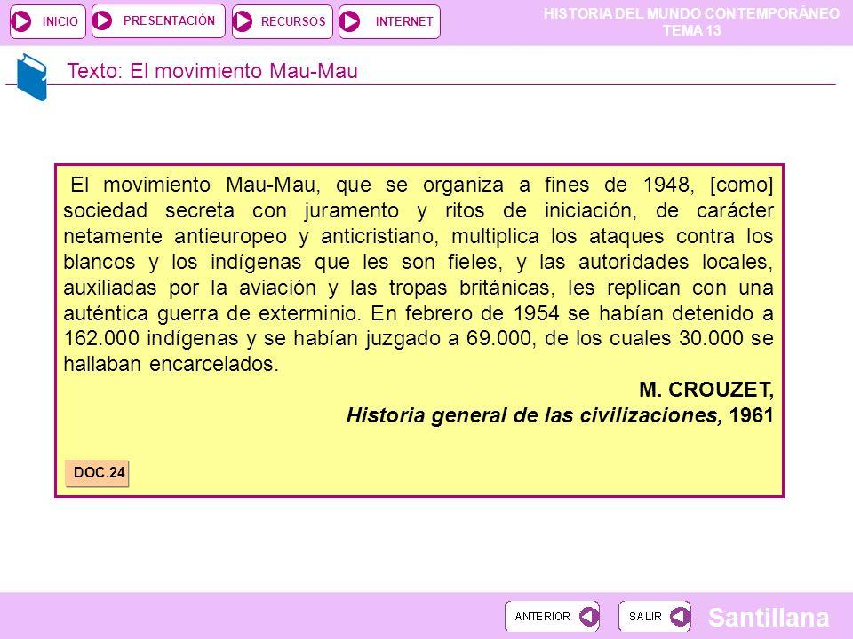 HISTORIA DEL MUNDO CONTEMPORÁNEO TEMA 13 RECURSOSINTERNETPRESENTACIÓN Santillana INICIO Texto: El movimiento Mau-Mau El movimiento Mau-Mau, que se org