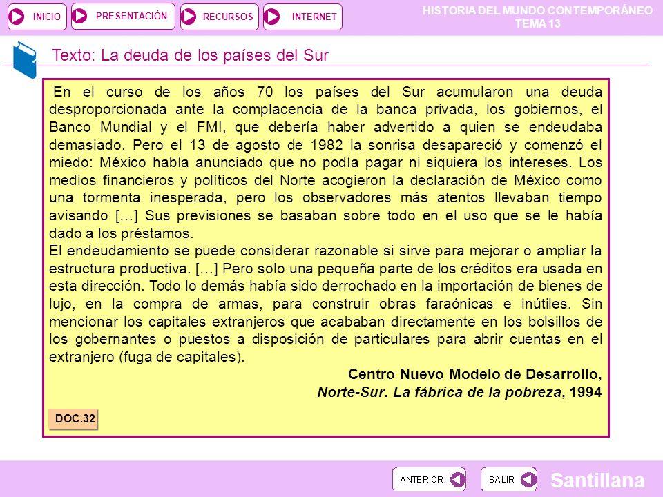 HISTORIA DEL MUNDO CONTEMPORÁNEO TEMA 13 RECURSOSINTERNETPRESENTACIÓN Santillana INICIO Texto: La deuda de los países del Sur En el curso de los años