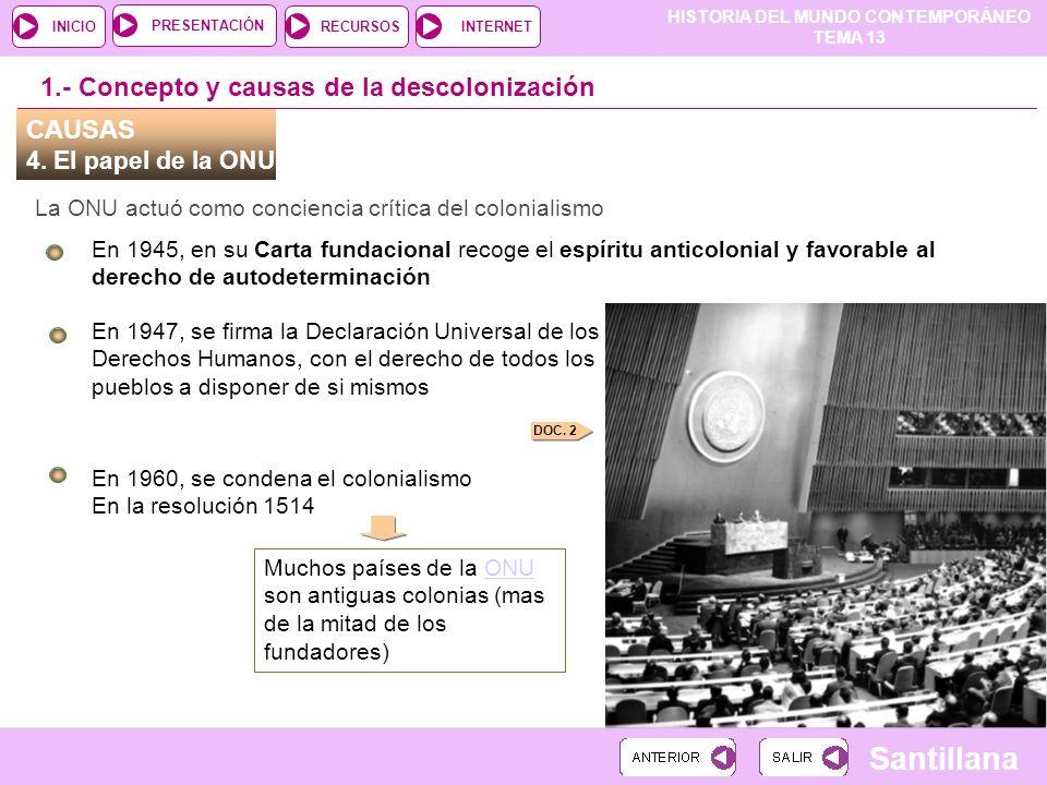 HISTORIA DEL MUNDO CONTEMPORÁNEO TEMA 13 RECURSOSINTERNETPRESENTACIÓN Santillana INICIO CAUSAS 4. El papel de la ONU La ONU actuó como conciencia crít