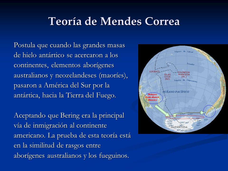 Teoría de Mendes Correa Postula que cuando las grandes masas de hielo antártico se acercaron a los continentes, elementos aborígenes australianos y ne