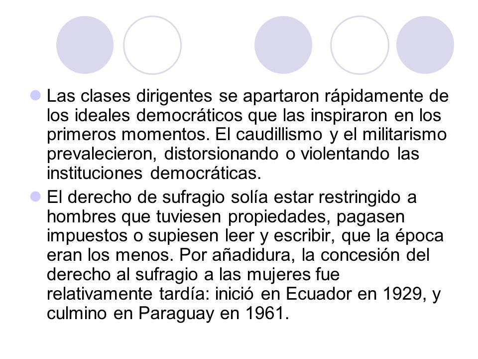 Las clases dirigentes se apartaron rápidamente de los ideales democráticos que las inspiraron en los primeros momentos. El caudillismo y el militarism
