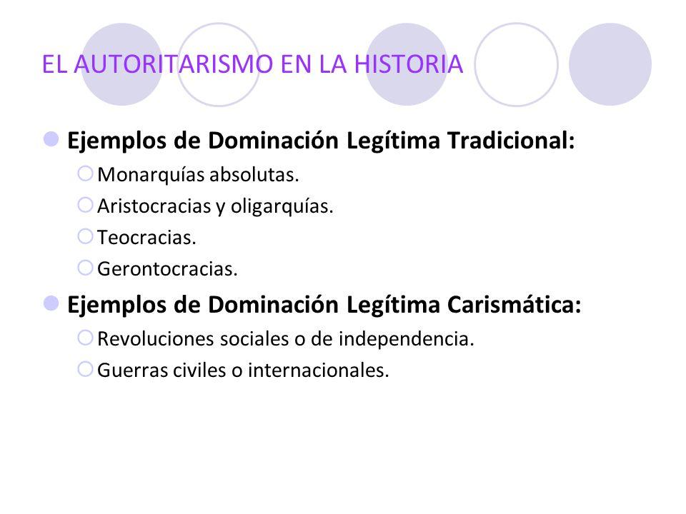 EL AUTORITARISMO EN LA HISTORIA Ejemplos de Dominación Legítima Tradicional: Monarquías absolutas. Aristocracias y oligarquías. Teocracias. Gerontocra