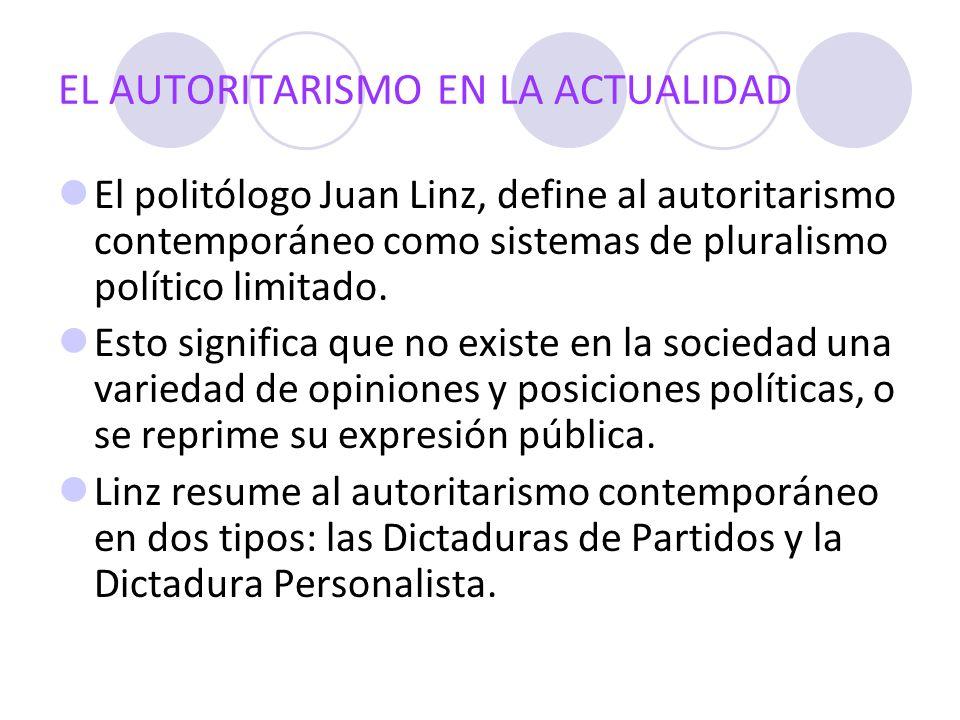 EL AUTORITARISMO EN LA ACTUALIDAD El politólogo Juan Linz, define al autoritarismo contemporáneo como sistemas de pluralismo político limitado. Esto s