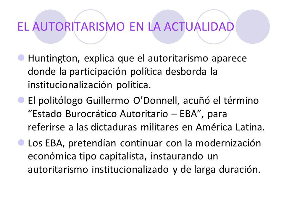 EL AUTORITARISMO EN LA ACTUALIDAD Huntington, explica que el autoritarismo aparece donde la participación política desborda la institucionalización po