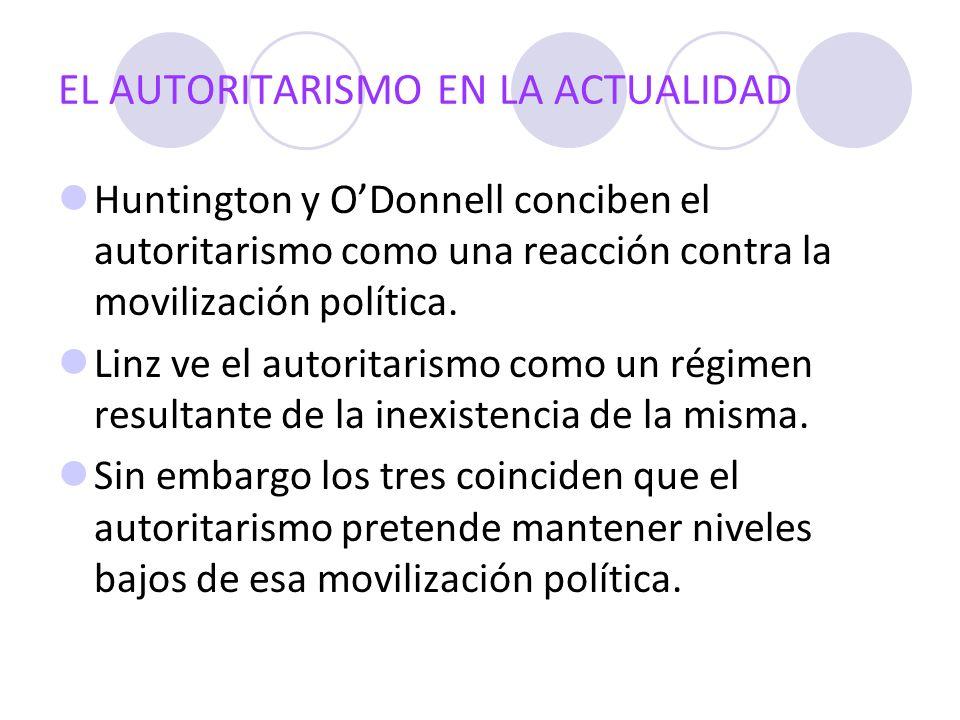 EL AUTORITARISMO EN LA ACTUALIDAD Huntington y ODonnell conciben el autoritarismo como una reacción contra la movilización política. Linz ve el autori