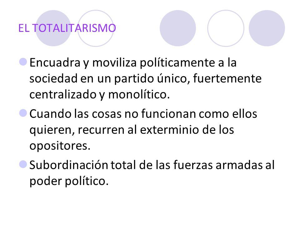 EL TOTALITARISMO Encuadra y moviliza políticamente a la sociedad en un partido único, fuertemente centralizado y monolítico. Cuando las cosas no funci