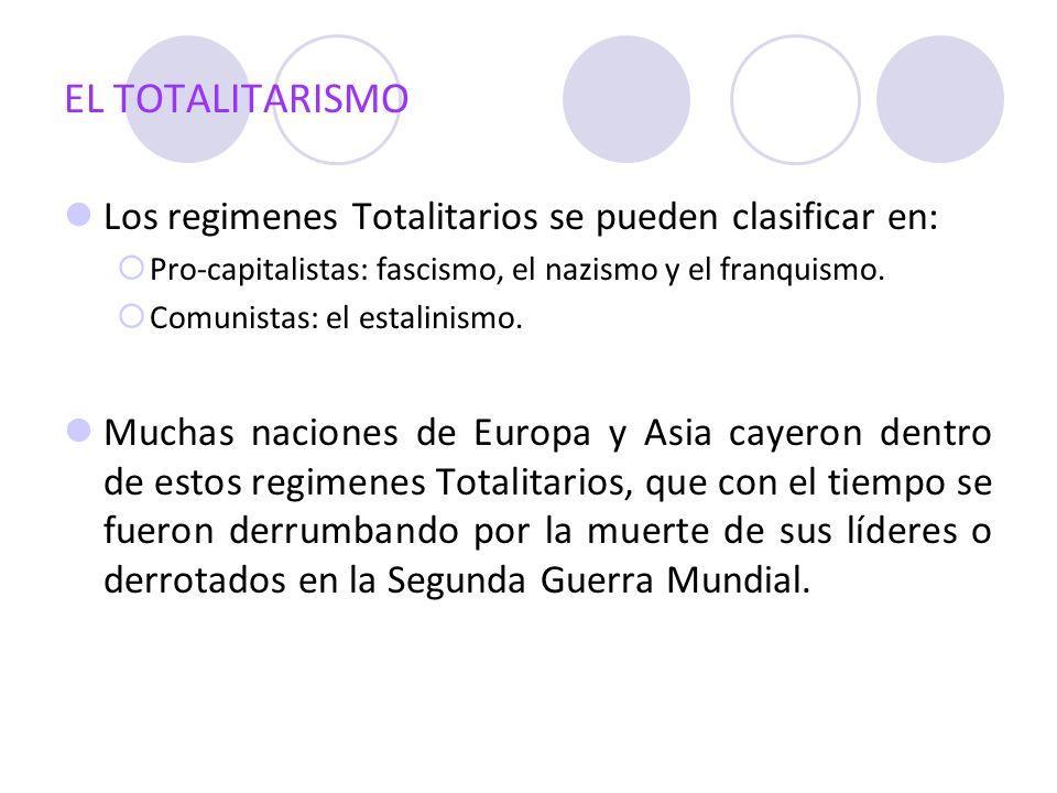 EL TOTALITARISMO Los regimenes Totalitarios se pueden clasificar en: Pro-capitalistas: fascismo, el nazismo y el franquismo. Comunistas: el estalinism
