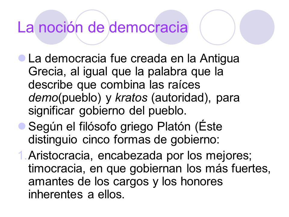 La noción de democracia La democracia fue creada en la Antigua Grecia, al igual que la palabra que la describe que combina las raíces demo(pueblo) y k
