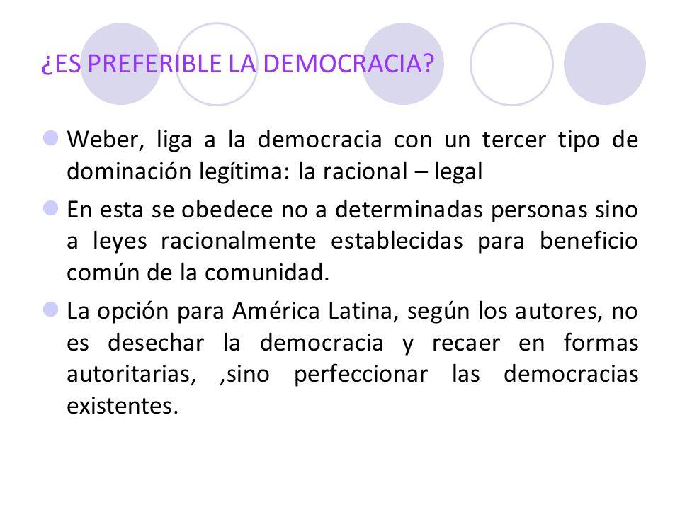 ¿ES PREFERIBLE LA DEMOCRACIA? Weber, liga a la democracia con un tercer tipo de dominación legítima: la racional – legal En esta se obedece no a deter