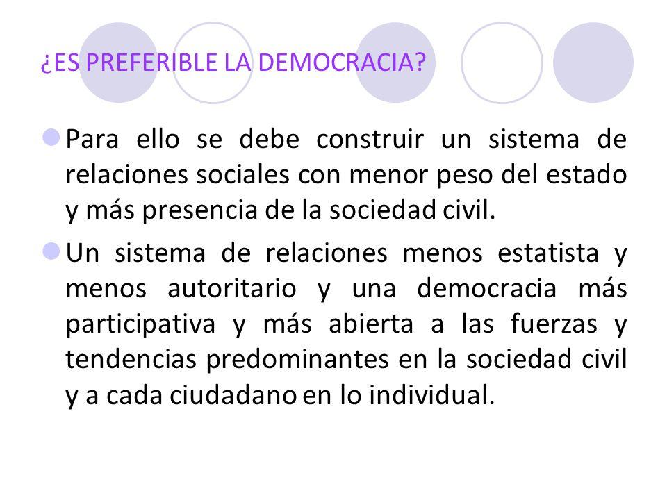 ¿ES PREFERIBLE LA DEMOCRACIA? Para ello se debe construir un sistema de relaciones sociales con menor peso del estado y más presencia de la sociedad c