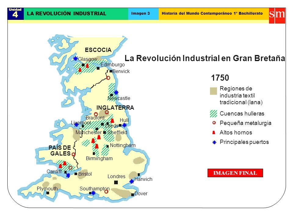 Unidad 4 LA REVOLUCIÓN INDUSTRIAL Imagen 3Historia del Mundo Contemporáneo 1º Bachillerato IMAGEN FINAL La Revolución Industrial en Gran Bretaña Princ