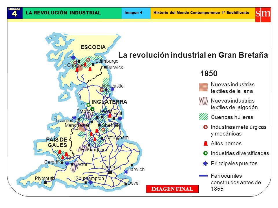 Unidad 4 LA REVOLUCIÓN INDUSTRIAL Imagen 4Historia del Mundo Contemporáneo 1º Bachillerato IMAGEN FINAL La revolución industrial en Gran Bretaña 1850