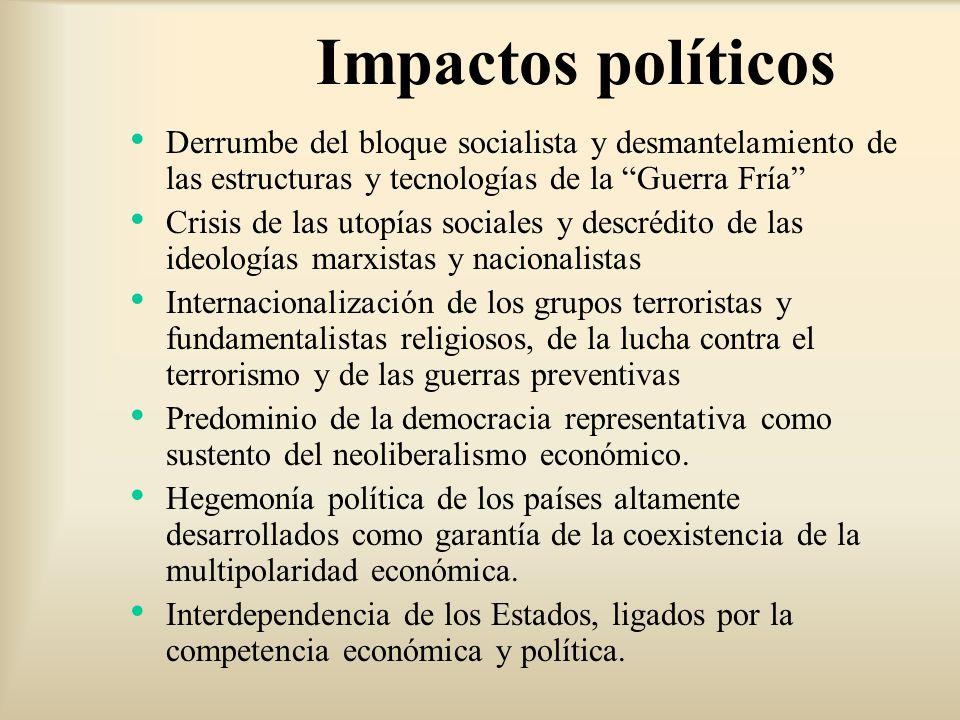 Derrumbe del bloque socialista y desmantelamiento de las estructuras y tecnologías de la Guerra Fría Crisis de las utopías sociales y descrédito de la