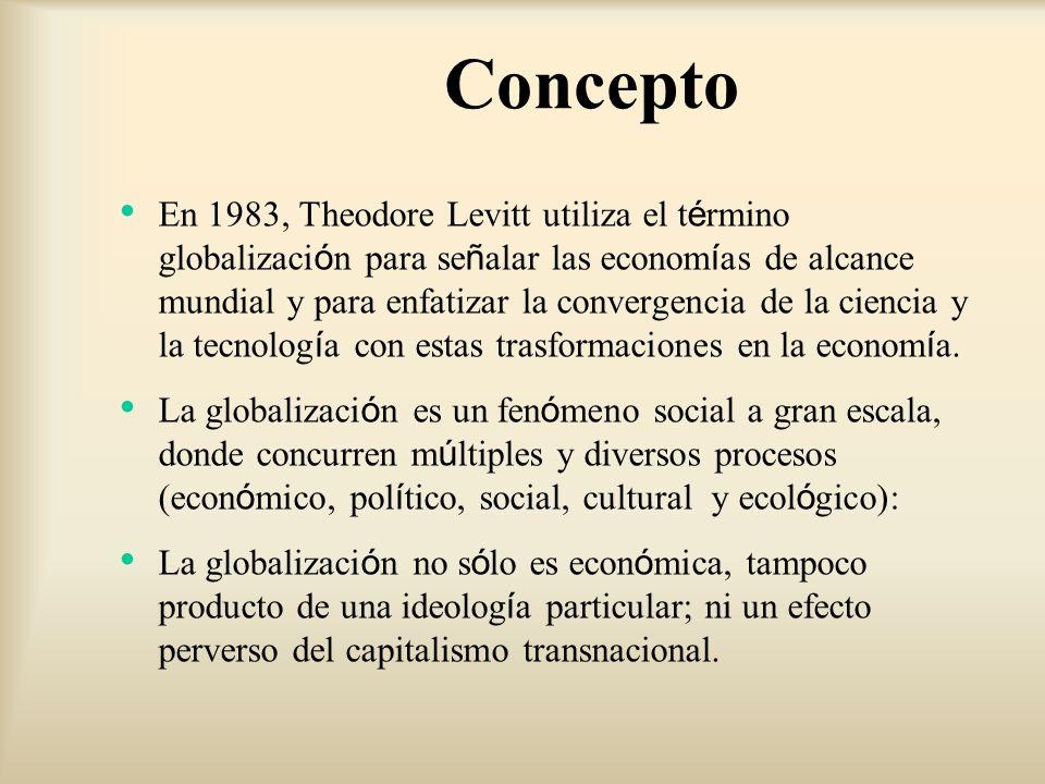 Concepto En 1983, Theodore Levitt utiliza el t é rmino globalizaci ó n para se ñ alar las econom í as de alcance mundial y para enfatizar la convergen