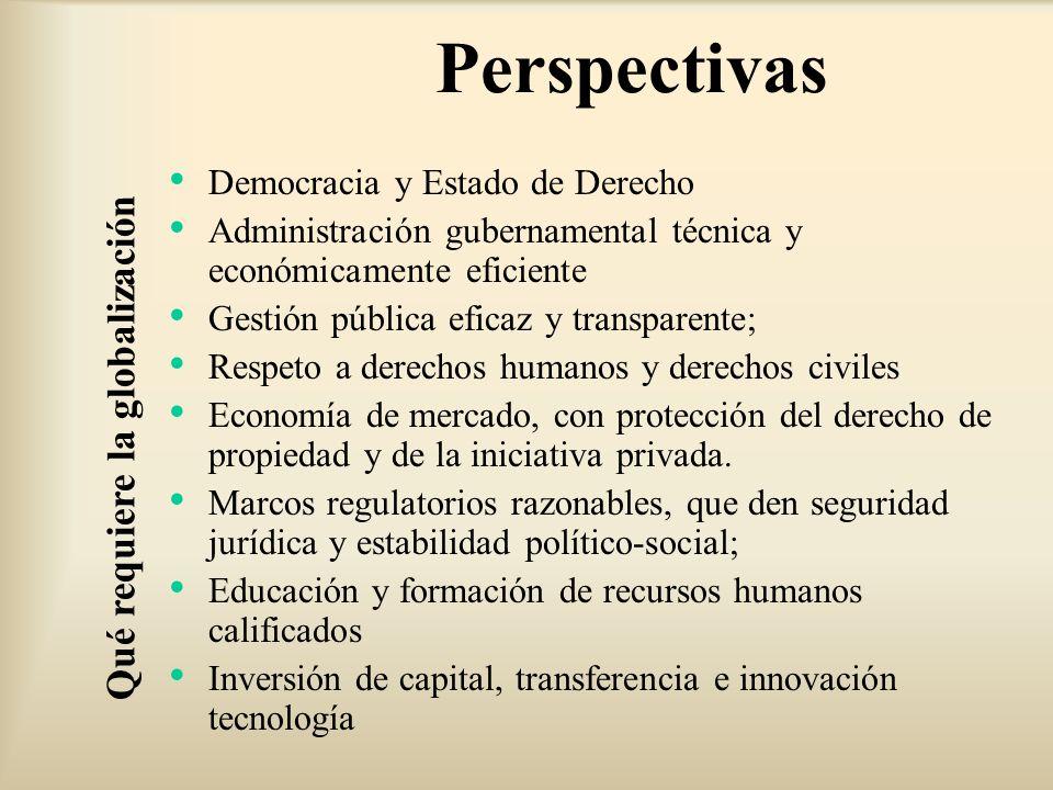 Democracia y Estado de Derecho Administración gubernamental técnica y económicamente eficiente Gestión pública eficaz y transparente; Respeto a derech