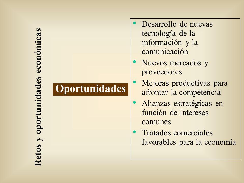 Retos y oportunidades económicas Oportunidades Desarrollo de nuevas tecnología de la información y la comunicación Nuevos mercados y proveedores Mejor
