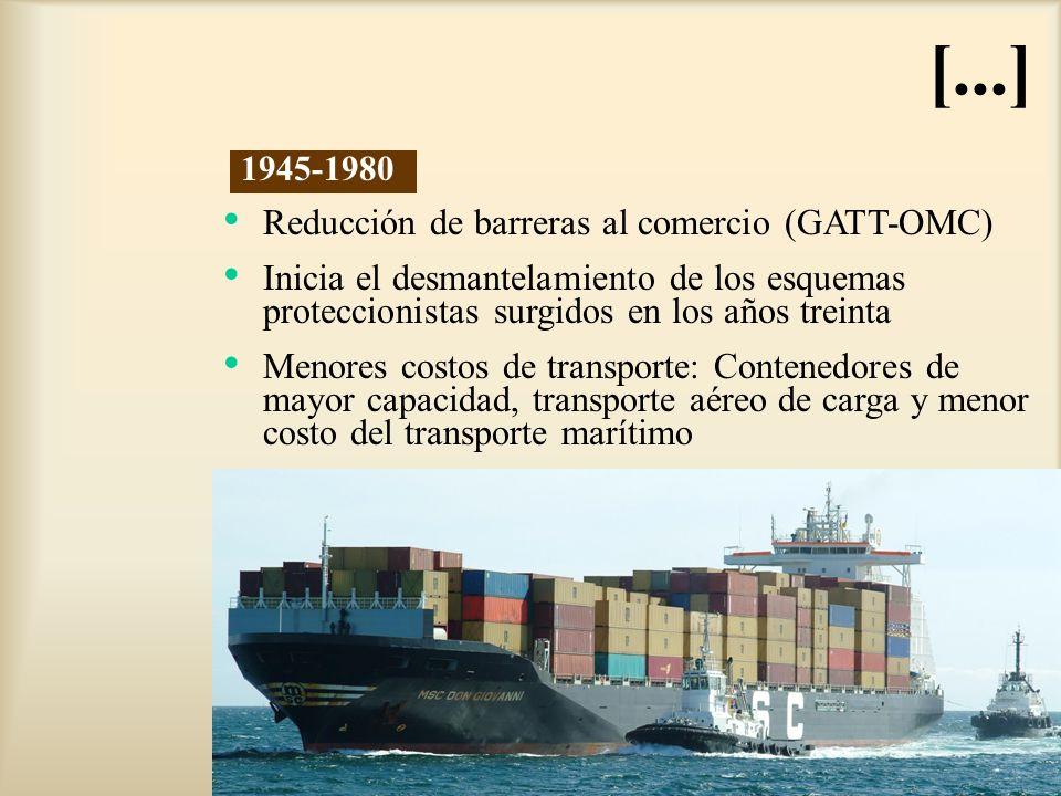 [...] Reducción de barreras al comercio (GATT-OMC) Inicia el desmantelamiento de los esquemas proteccionistas surgidos en los años treinta Menores cos