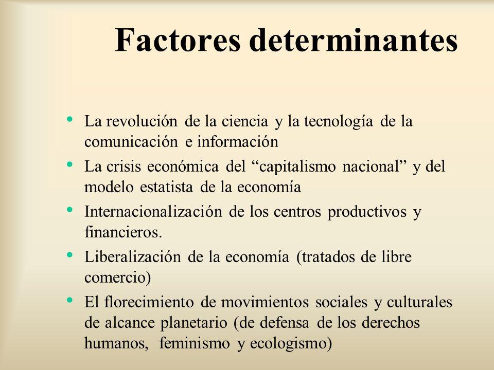 Factores determinantes La revolución de la ciencia y la tecnología de la comunicación e información La crisis económica del capitalismo nacional y del