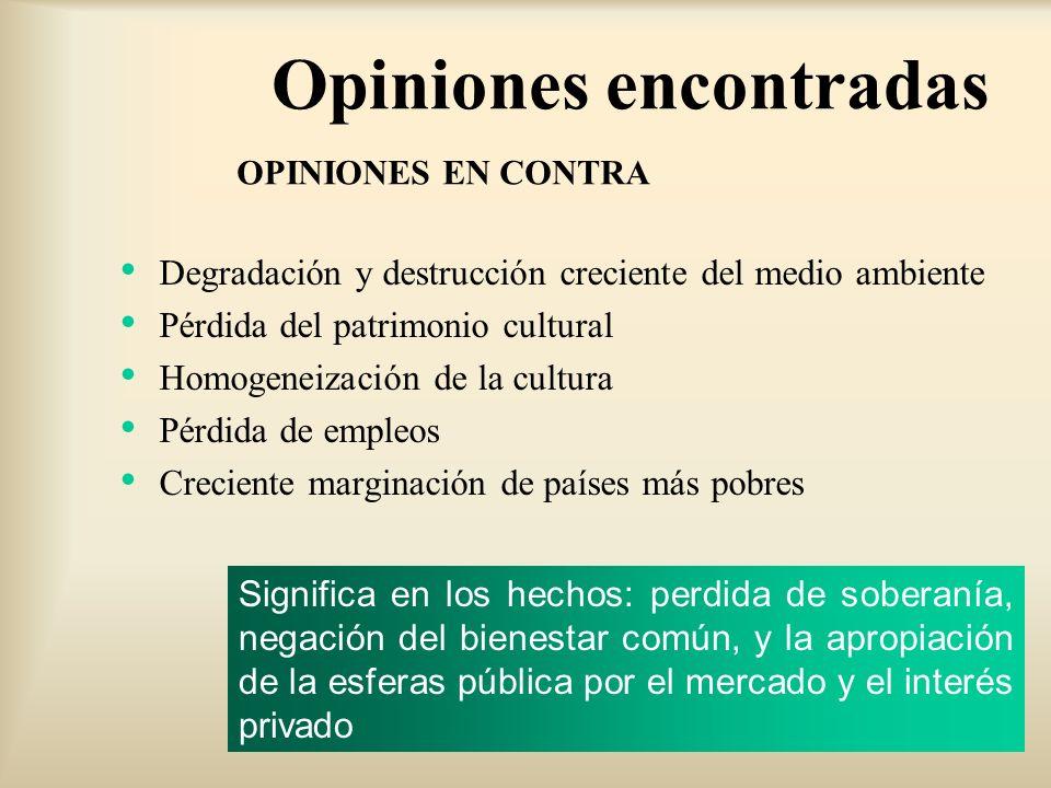Opiniones encontradas Degradación y destrucción creciente del medio ambiente Pérdida del patrimonio cultural Homogeneización de la cultura Pérdida de