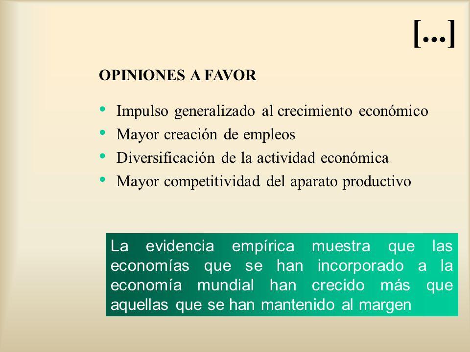 Impulso generalizado al crecimiento económico Mayor creación de empleos Diversificación de la actividad económica Mayor competitividad del aparato pro