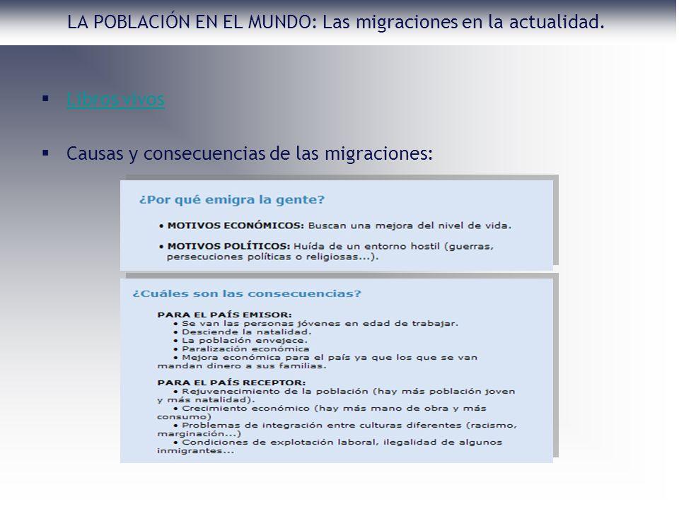Libros vivos Causas y consecuencias de las migraciones: LA POBLACIÓN EN EL MUNDO: Las migraciones en la actualidad.