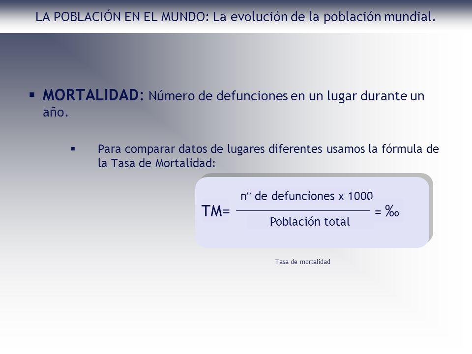 LA POBLACIÓN EN EL MUNDO: La evolución de la población mundial. MORTALIDAD: Número de defunciones en un lugar durante un año. Para comparar datos de l